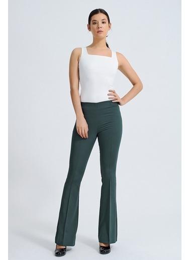 Jument Ön Arka Dikişli Ispanyol Paça Tayt Pantolon -Mint Yeşil